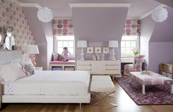 genç odaları renk seçimi - mor pembe