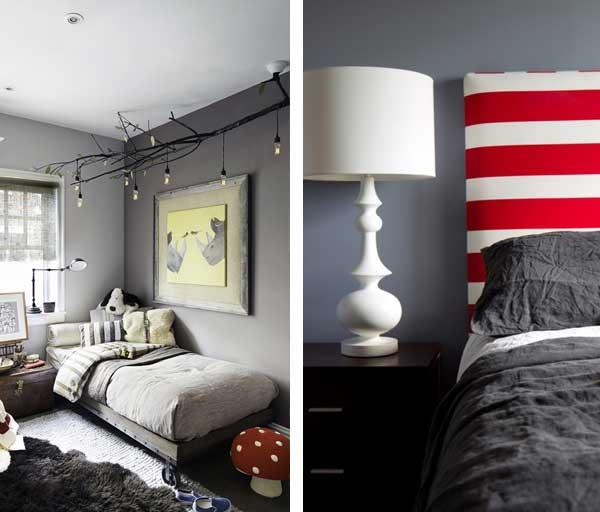 genç odası renk seçimi - gri kırmızı