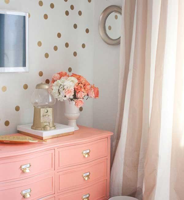 genç odası renk seçimi - şeftali altın